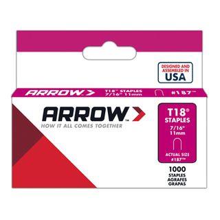 "ARROW, Staples, T18, 7/16"" (11mm), Pkt 1000,"