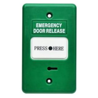 """SECOR, Call point, Green, Unit reads """"Emergency Door Release"""", Call point reads """"Press Here"""", Key resettable, 2 pole, IP55, Standard GPO size"""