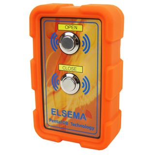 ELSEMA, PentaFOB Large Industrial Style Transmitter, 2 Channel, Hand held, 433 MHz FM signal, Rubber Boot cover, Requires 2 x AA batteries, Orange, 125mm x 75mm x 35mm