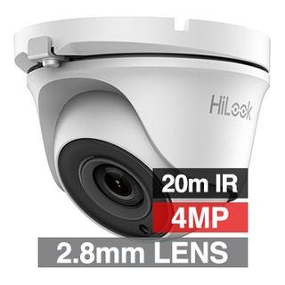 HILOOK, 4MP Analogue HD Outdoor Turret camera, White, 2.8mm fixed lens, 20m IR, TVI/AHD/CVI/CVBS, DWDR, Day/Night (ICR), IP66, Tri-axis, 12V DC, 4W