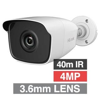 HILOOK, 4MP Analogue HD Outdoor Bullet camera, White, 3.6mm fixed lens, 40m IR, TVI/AHD/CVI/CVBS, DWDR, Day/Night (ICR), IP66, Tri-axis, 12V DC, 4W