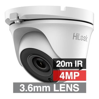 HILOOK, 4MP Analogue HD Outdoor Turret camera, White, 3.6mm fixed lens, 20m IR, TVI/AHD/CVI/CVBS, DWDR, Day/Night (ICR), IP66, Tri-axis, 12V DC, 4W