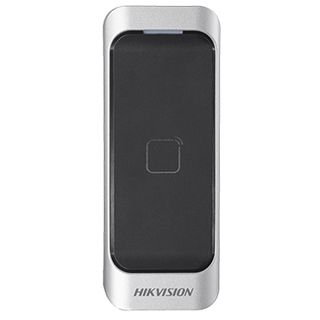 "HIKVISION, Pro series, Proximity card reader, Mullion style, Up to 2"" (50mm) read range, Thin profile, Built in buzzer, Two colour LED, Mifare compatible, 26bit/34bit Wiegand out, RS485, 3-Year warran"
