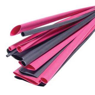 NETDIGITAL, Heat shrink tubing pack, 14 piece, Black & Red, 300mm Lengths, Assorted Diameters.