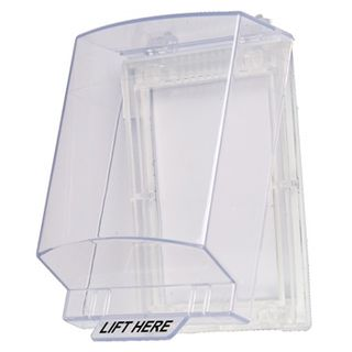 "SECOR, Plastic Weather Cover, Clear, hinged with ""Lift Here"" on front cover. Suits most keypads, internal dimensions 140mm X 110mm X 54mm (HxWxD)."