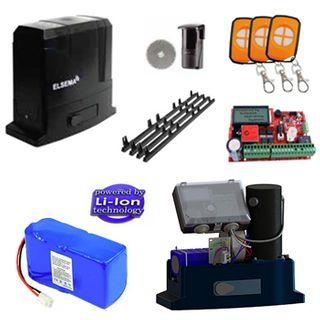 ELSEMA, Automatic Sliding Gate Kit, Incl Sliding Gate Motor, 3 x Pentafob remotes, 1 x Reflector Beam, 4 x Nylon gear racks with mouting screws & backup battery.