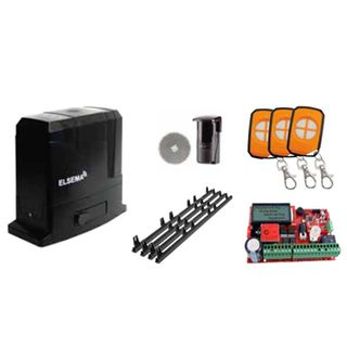 ELSEMA, Automatic Sliding Gate Kit, Incl Sliding Gate Motor, 3 x Pentafob remotes, 1 x Reflector Beam & 4 x Nylon gear racks with mouting screws. Suitable for gates up to 900kg.