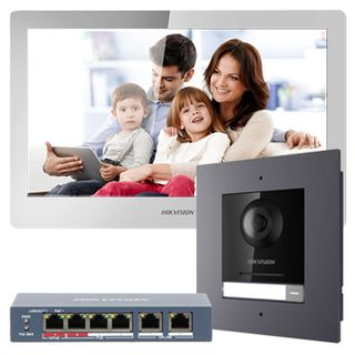 "HIKVISION, IP Intercom Kit, Includes 1 x DS-KH8520-WTE1 10"" room station, 1 x DS-KD8003-IME1/FLUSH door station & 1 x DS-3E0106HP-E POE switch"