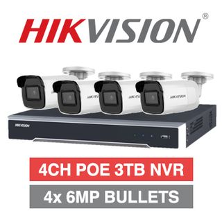 HIKVISION, 4 channel HD-IP 6MP bullet kit, Includes 1x DS-7604NI-I1/4P 4ch POE NVR w/ 3TB HDD & 4x DS-2CD2065G1-I-2.8 6MP IP IR bullet cameras w/ 2.8mm fixed lens