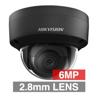 """HIKVISION, 6MP HD-IP DARKFIGHTER, Outdoor Vandal Dome camera, Black, 2.8mm fixed lens, 30m IR, WDR, Day/Night (ICR), 1/2.4"""" CMOS, H.264+/H.265+, IP67, IK10, Tri-axis, 12V DC/PoE"""