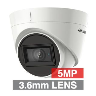 HIKVISION, 5MP Analogue HD Outdoor Turret camera, White, 3.6mm fixed lens, 60m IR, TVI/AHD/CVI/CVBS, 130dB WDR, Day/Night (ICR), IP67, Tri-axis, 12V DC/24V AC