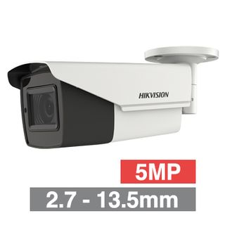 HIKVISION, 5MP Analogue HD Outdoor Bullet camera, White, 2.7-13.5mm motorized zoom lens, 80m IR, TVI/AHD/CVI/CVBS, 130dB WDR, Day/Night (ICR), IP67, 12V DC/24V AC