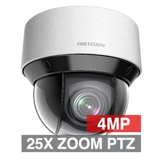 "HIKVISION, 4MP IP Outdoor IR PTZ Dome Camera, White, WDR, 50m IR, 1/2.5"" CMOS, 25x Zoom, IP66, 24V AC or POE"