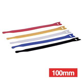 NETDIGITAL, Cable ties, Velcro Hook & Loop, 100mm, Coloured, Packet of 10.