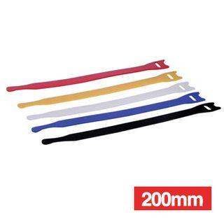 NETDIGITAL, Cable ties, Velcro Hook & Loop, 200mm, Coloured, Packet of 10.