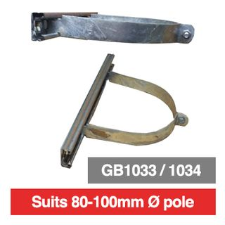 PSS, Pole mounting bracket for outdoor box, 80mm-100mm diameter pole, suits GB10343 or GB1034, comes with 300mm long rails.