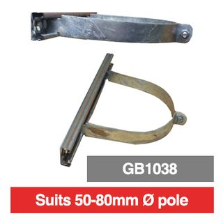 PSS, Pole mounting bracket for outdoor box, 50mm-80mm diameter pole, suits GB1038, comes with 380mm long rails.