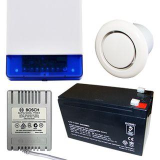 NETDIGITAL, Alarm accessory bundle, includes Slimline Square Style Cover Siren/Horn with Strobe & Tamper switch (WP16), 12V 7AH Battery, 18V AC 1.33A plug pack, Flush Mount screamer