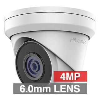 """HILOOK, 4MP HD-IP Outdoor Turret camera, Metal, White, 6.0mm fixed lens, 30m IR, 120dB WDR, Day/Night (ICR), 1/3"""" CMOS, H.265/H.265+, IP67, Tri-axis, 12V DC/PoE"""