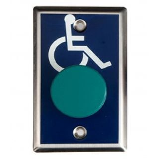 NETDIGITAL, Switch plate, Wall, Wheelchair image on plate, Stainless steel, With green mushroom head push button, N/O and N/C contacts