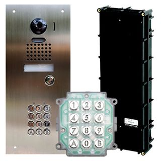 AIPHONE, JO, JP & JK Series access control flush door station kit, includes JKPDVFKPS plate, AC10U keypad & GF3B backbox.