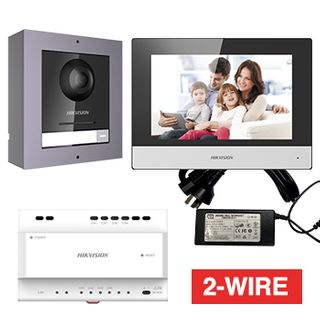 """HIKVISION, Intercom, Gen 2, Two wire intercom kit, includes 1 x DS-KD8003-IME2 surface door station, 1 x DS-KH6320-WTE2 7"""" room station, 1 x KAD704-P, WiFi, Black, AU adapter"""