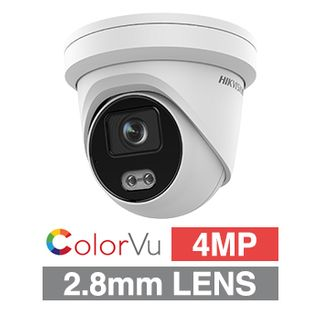 """HIKVISION, 4MP ColorVu HD-IP Outdoor Turret camera, White, 2.8mm fixed lens, F1.0, 30m White LED, WDR, Day/Night (ICR), 1/1.8"""" CMOS, H.265/H.265+, IP67, Tri-axis,12V DC/PoE"""