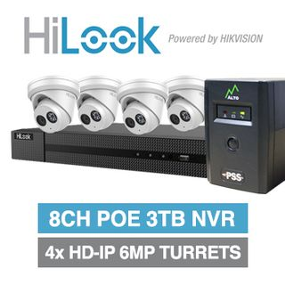 HILOOK, 6MP kit special, Includes 1x NVR-208MH-C/8P-3T 8ch POE 3TB NVR w/ additional internal HDD bay, 4x IPC-T260H-M-2.8 6MP turrets, 1x ECO0600 ALTO PSS 600VA UPS