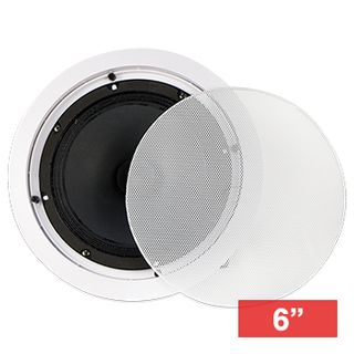 """CMX, 6"""" Dual cone speaker, Ceiling mount, 10W, 6"""" (150mm), includes white metal grille, Wide dispersion, Rota-clamp mounting, 100-15KHz response, 100V line (Taps at 5, 10W), cutout 200mm"""