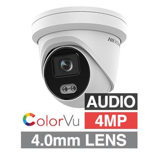 "HIKVISION, 4MP ColorVu HD-IP Outdoor Turret camera, White, 4.0mm fixed lens, F1.0, 30m White LED, WDR, Day/Night (ICR), 1/1.8"" CMOS, H.265/H.265+, IP67, Tri-axis, Audio,Built-in microphone, 12V DC/PoE"
