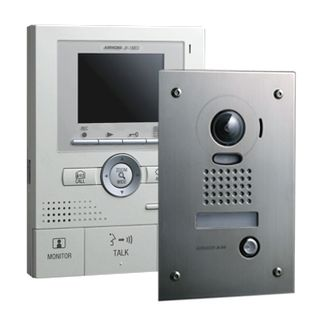 AIPHONE, JK Series, Video intercom kit, Colour, Hands free, With video memory, Includes 1 x JK1MED master station, 1 x JKDVF flush mount vandal resistant door station and 1 x power supply