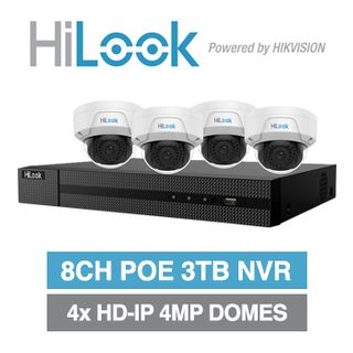 HILOOK, 8 channel HD-IP dome 4MP kit, Includes 1x NVR-108MH-C/8P-3T 8ch POE NVR w/ 3TB HDD & 4x IPC-D140H-M-2.8 4MP IP IR dome cameras w/ 2.8mm fixed lens