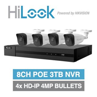 HILOOK, 8 channel HD-IP bullet 4MP kit, Includes 1x NVR-108MH-C/8P-3T 8ch POE NVR w/ 3TB HDD & 4x IPC-B140H-M-2.8 4MP IP IR bullet cameras w/ 2.8mm fixed lens