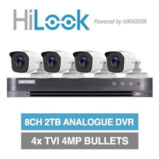 HILOOK/HIKVISION, 8 channel HD-TVI 4MP bullet kit, Includes 1x DS-7208HUHI-K1-2T 8ch Analogue HD DVR, 4x 4MP TVI IR bullet cameras w/ 2.8mm fixed lens & 12V DC PSU