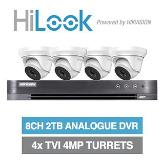 HILOOK/HIKVISION, 8 channel HD-TVI 4MP turret kit, Includes 1x DS-7208HUHI-K1-2T 8ch Analogue HD DVR, 4x 4MP TVI IR turret cameras w/ 2.8mm fixed lens & 12V DC PSU
