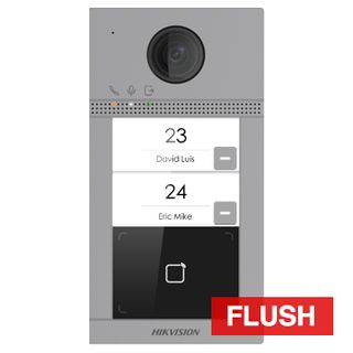 HIKVISION, Intercom, Gen 2, Flush door station, HD-IP, Two call button, 2MP camera, Built-in Mifare reader, 129 degree view, IP65, IK08, WiFi, POE