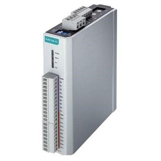 MOXA, Remote Ethernet Input/Output module, 2x RJ45 ports (IN/OUT), 8 inputs/8 outputs, DIN rail mount, 12-36V DC.