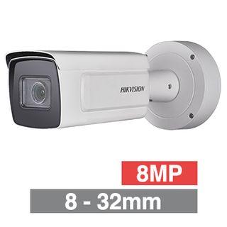 "HIKVISION, 8MP Dark Fighter HD-IP Bulllet camera, White, 8-32mm zoom lens, 100m IR, 25fps, 120dB WDR, Day/Night (ICR), 1/1.8"" CMOS, H.265/H.265+, IP67, IK10,  12V DC/PoE"