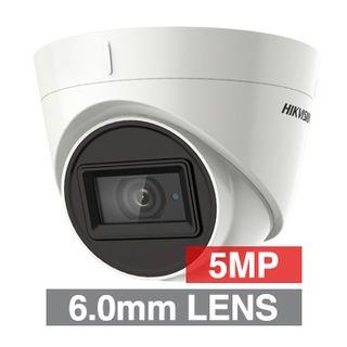 HIKVISION, 5MP Analogue HD Outdoor Turret camera, White, 6mm fixed lens, 60m IR, TVI/AHD/CVI/CVBS, 130dB WDR, Day/Night (ICR), IP67, Tri-axis, 12V DC/24V AC