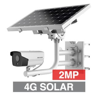 """HIKVISION, Fixed Outdoor Bullet camera with Solar power kit (incl. battery), White, 4G-LTE, 2.8mm fixed lens, 30m IR, 120dB WDR, Day/Night (ICR), 1/2.8"""" CMOS, H.265 & H.265+, IP66, Smart"""