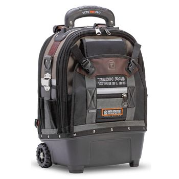 VETO PRO PAC, Tech Series, Back pack with wheels & pull up handle, HVAC tech tool bag, Closed style, 33 tiered pockets, 4 storage platforms, Weather resistant base & fabric, 330(L) x 203(W) x 432(H)mm