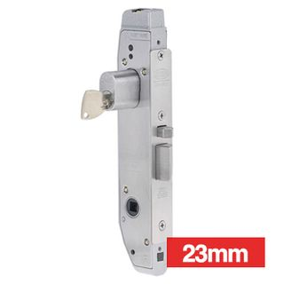 LOCKWOOD, Electric Mortice Lock, Monitored, Primary lock, Fail safe/fail secure, 23mm backset, No cylinder, Satin chrome, 9-28v DC, 300mA.