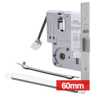 LOCKWOOD, Electric Mortice Lock, Monitored, Primary lock, Fail safe/fail secure, 60mm backset, No cylinder, Satin chrome, 12- 24v DC, Includes LWLC8810 cable transfer.