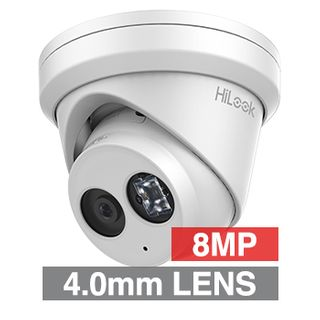 """HILOOK, 8MP HD-IP Outdoor Turret camera, Metal, White, 4.0mm fixed lens, 30m IR, 120dB WDR, Day/Night (ICR), 1/3"""" CMOS, H.265/H.265+, IP67, Tri-axis, Microphone, 12V DC/PoE"""
