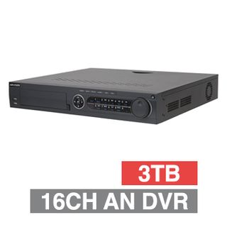 HIKVISION, Analogue Turbo HD DVR, 32 ch, (max 16CH HD Analogue or 32CH IP), 600fps record speed (5MP), 1x 3TB SATA HDD up to 4x 10TB, VMD, Ethernet, 4 Audio In/ 2x Audio Out, 2x HDMI, 1x VGA, 1x CVBS