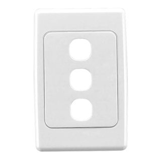 DATAMASTER, 2000 Series, Wall switch plate, Three gang, White