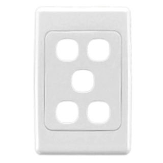 CLIPSAL, 2000 Series, Wall switch plate, Five gang, White