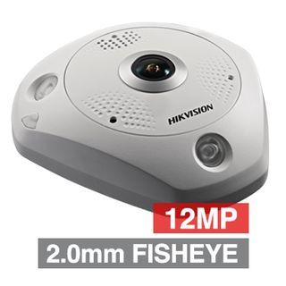 "HIKVISION, 12MP HD-IP Fisheye camera, White, Surface Mount, 2mm fixed lens, 15m IR, 30fps, DWDR, Day/Night (ICR), 1/1.7"" CMOS, H.265, IP67, IK10, 12V DC/PoE"