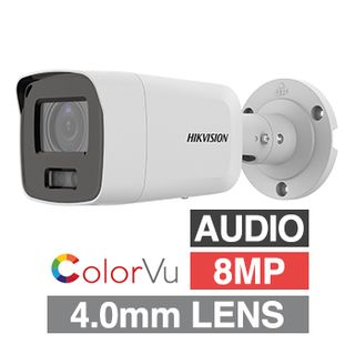 """HIKVISION, 8MP ColorVu HD-IP Outdoor Bullet camera, White, 4.0mm fixed lens, F1.0, 40m White LED, WDR, Day/Night (ICR), 1/1.2"""" CMOS, H.265/H.265+, IP67, Audio, Built-in microphone, Tri-axis,12V DC/PoE"""