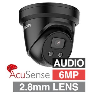"""HIKVISION, 6MP AcuSense G2 HD-IP Outdoor Turret camera with strobe, audible alarm & 2 way audio, Black, 2.8mm fixed, 30m IR, WDR, 1/2.4"""" CMOS, H.265/H.265+, IP67, Tri-axis, 12V DC/PoE"""